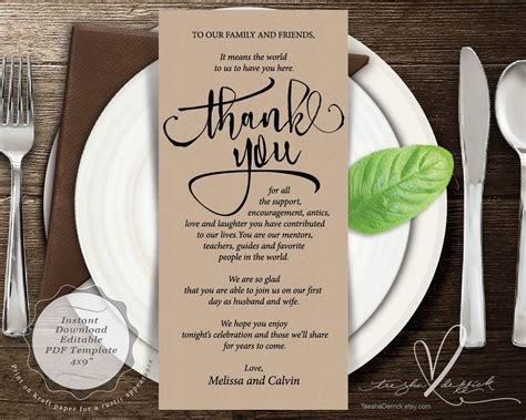wedding table setting cards templates wedding place setting thank you card instant