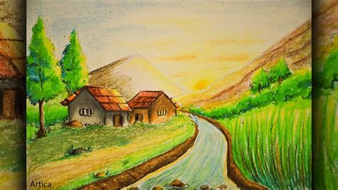 pastel color painting of a landscape scenery for beginner