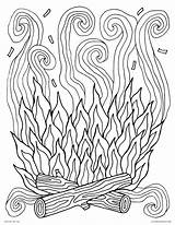 Coloring Campfire Fire Colouring Printable Adults Smoke Camp Log Elements Visit sketch template