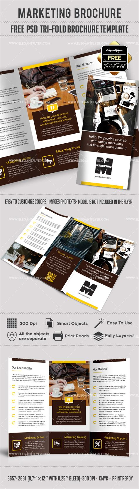 Tri Fold Brochure Templates Free By Elegantflyer Marketing Free Tri Fold Psd Brochure Template By