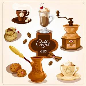 Deko Kataloge Kostenlos : kaffee deko set kostenlose vektor ~ Watch28wear.com Haus und Dekorationen