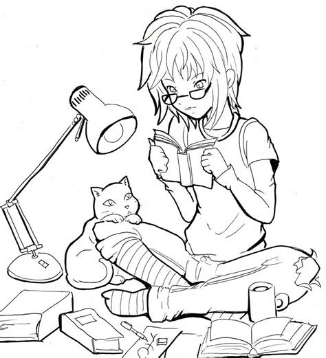 Reading by =Namtia on deviantART Cat coloring page