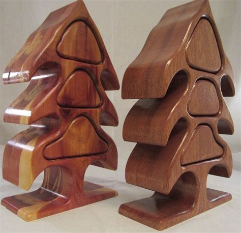 christmas tree bandsaw boxes red cedar  mahogany