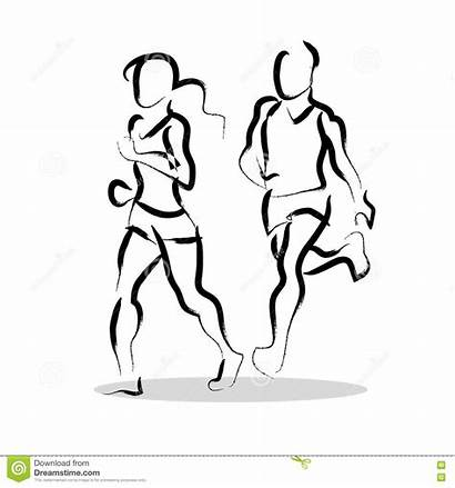 Sketch Fitness Drawn Hand Vector Human Healthy