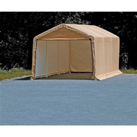 portable auto storage shelter tan car canopy  ft   ft vehicle garage tent ebay