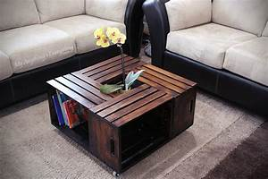 20 diy wooden crate coffee tables guide patterns for Wood crate coffee table