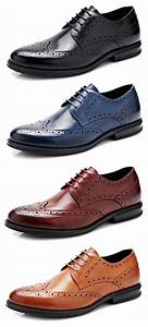 Men Genuine Leather Brogue Carved Oxfords Pointed Toe ...