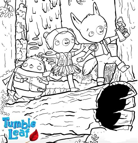 tumble leaf characters coloring page  printable coloring pages  kids