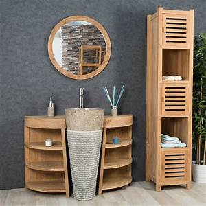 emejing meuble sous vasque teck massif contemporary With meuble salle de bain bois vintage