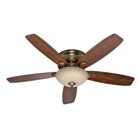 lowes ceiling fans with led lights shop hunter 52 in low profile iv plus led brushed bronze