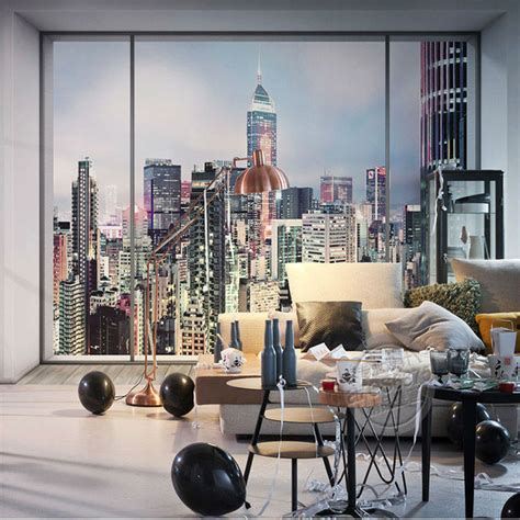aliexpress buy 3d window city landscape photo wallpaper large wall mural new york