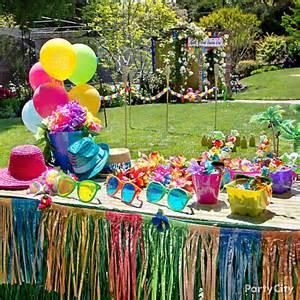luau dress up favors display idea totally tiki luau party ideas luau party ideas theme