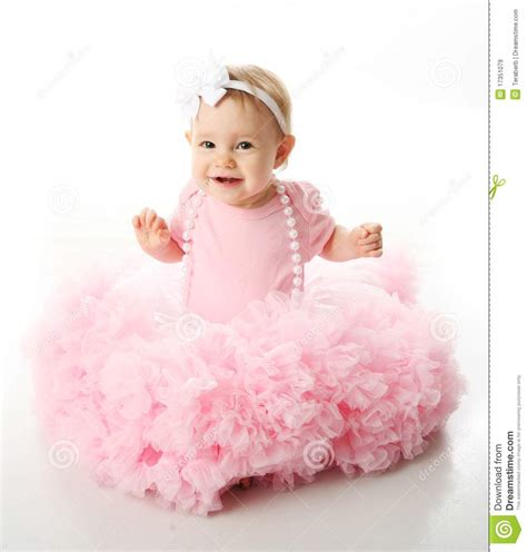 Rok Tutu Balon By Cutie Baby Tutu baby wearing pettiskirt tutu and pearls stock image