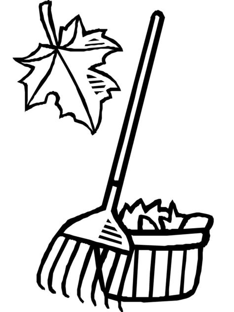 Coloring Rake by Raking Leaves Clip Cliparts Co