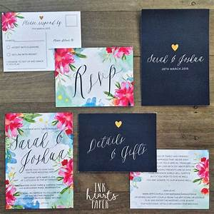 Bright pink blue navy floral watercolor watercolour gold for Watercolor wedding invitations australia