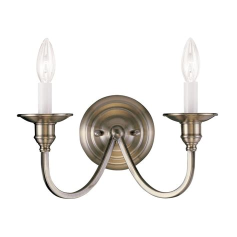 shop livex lighting cranford 13 in w 2 light antique brass