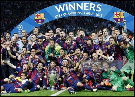Team Barcelona celebrating the Champions League final ...