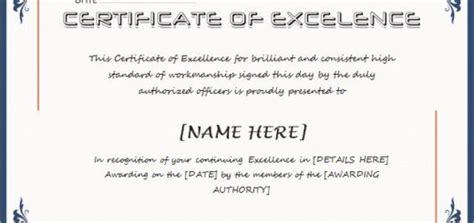 excellent performance certificates professional