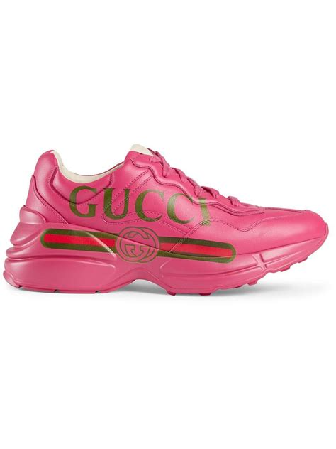 Collection by winwinnew • last updated 11 days ago. Gucci Rhyton Logo Leather Sneaker in Pink - Save 9% - Lyst