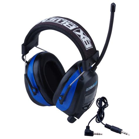 blue max digital earmuff with am fm stereo radio and audio