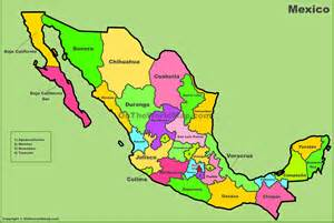 Mexico states map Mexico