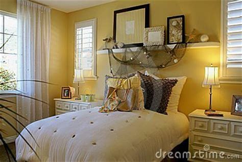 yellow bed room beach decor royalty  stock photography