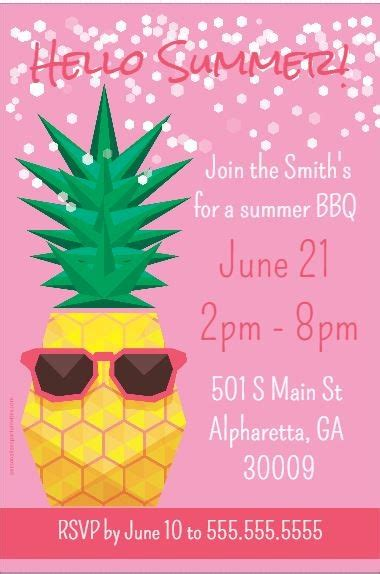 pineapple  sunglasses summer theme party invitation