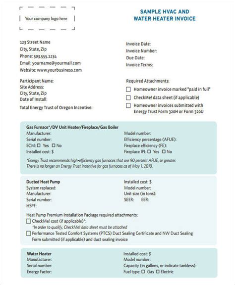 hvac invoice templates  word  format