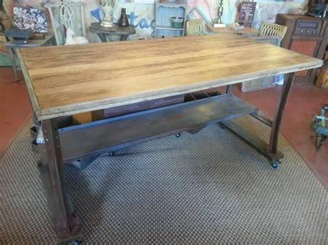work bench kitchen island wood top  metal legs