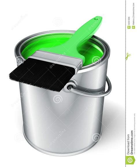 3d Light Green Paint Can And Paint Brush Royalty Free