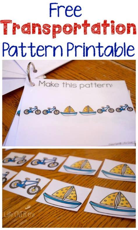transportation pattern printables  homeschool