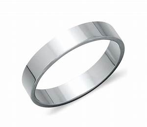 Flat wedding ring in platinum 4mm blue nile for Flat wedding rings