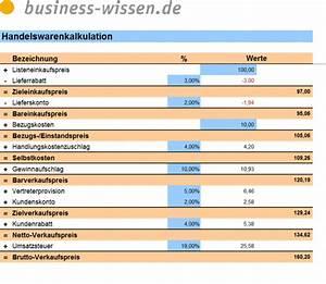 Kapitalbedarf Berechnen : handelswarenkalkulation excel tabelle business ~ Themetempest.com Abrechnung