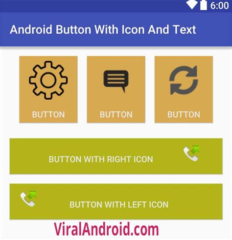 android text android button with icon and text viral android
