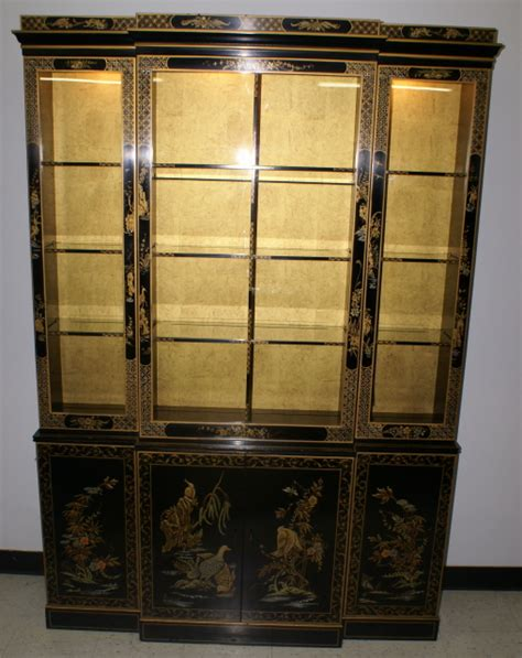 Breakfront China Cabinet Plans by Asian Decorated Drexel Breakfront China Cabinet