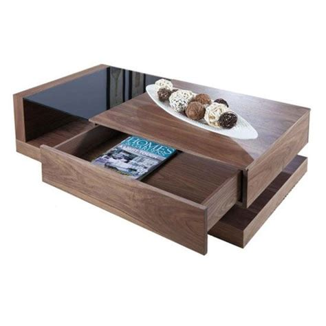 You can place your daily use items and other decorative stuff on the tabletop. Walnut Black Glass Coffee Table JF613CT - Wooden Coffee Table, Storage, Oak, Furnitureinfashion ...
