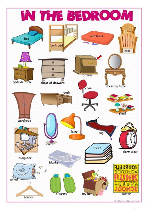 In The Bedroom Picture Dictionary Worksheet  Free Esl