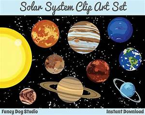 Solar System Art Outer Space Clipart Instant Digital ...