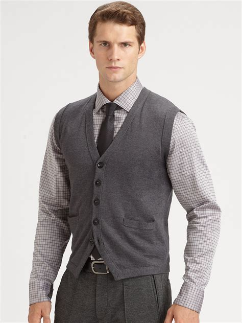 mens sweater vest armani wool sweater vest in gray for lyst