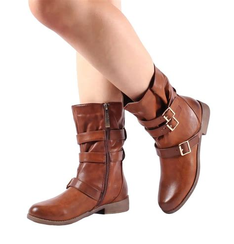 Brown Zip Open Buckle Fashion Women Mid Calf Boots Shoes