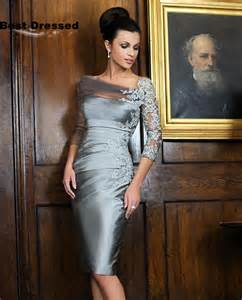 Sheath Knee Length Half Sleeves Lace Beaded 2015 Mother of Bride Dress Plus Size Special Occasion Wedding Party Gowns
