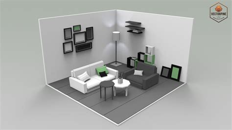 Model Small Living Room by Low Poly Interiors Living Room 3d Asset Ready