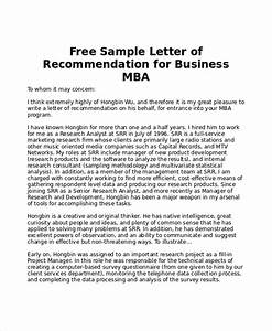 Letter Of Recommendation For College Admission Template Free 10 Sample Mba Recommendation Letter Templates In Pdf