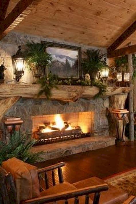 log cabin homes fireplace  ideaboz