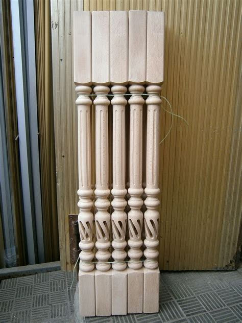 wood banisters open spiral stair spindles hollow carved wood baluster