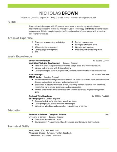 Exle Of Resume by Resume Sles