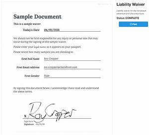 doc400518 liability waiver template release of With signed document template