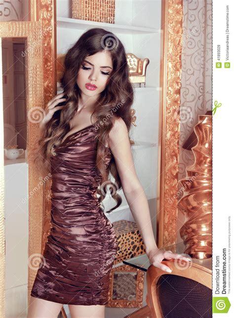 Glamorous Beautiful Girl Model With Long Wavy Hair. Female ...