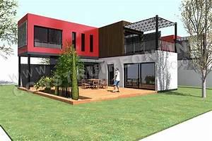 plan de maison contemporaine modulo 1 With plan maison avec patio 17 maison container modulaire ossature bois d architecte