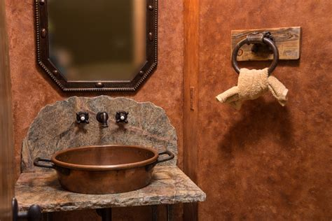 western style bathroom sinks water tower inspired home half bath vanity rustic
